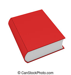 bianco, libro, rosso, render, 3d