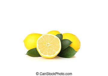 bianco, limoni, isolato, fondo, succoso, maturo