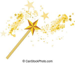 bianco, magia, stelle, bacchetta