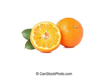 bianco, mandarini, isolato, fondo, succoso, maturo
