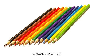 bianco, matite, colore isolato
