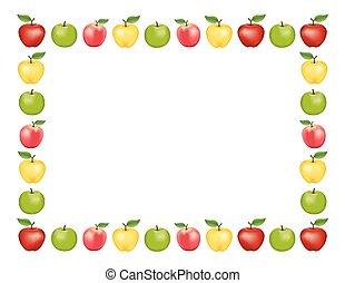 bianco, mela, fondo, cornice