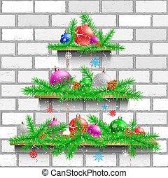 bianco, mensole, albero, mattone, natale