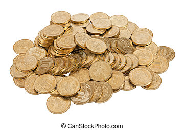 bianco, monete, isolato, fondo