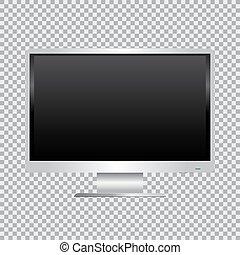 bianco, monitor, fondo, trasparente