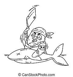 bianco, nave, immagine, vettore, pinguino, page., tagli, cuoco, coloritura, isolato, divertente, cleaver., squalo, illustrazione, matto, uccello, fish., cottura, pirata, scarabocchiare, style., fondo