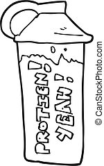 bianco, nero, cartone animato, scossa proteina