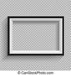 bianco, nero, cornice, trasparente