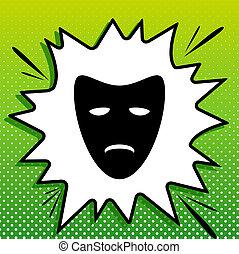 bianco, nero, popart, sfondo verde, icona, masks., spots., teatrale, illustration., schizzo, tragedia