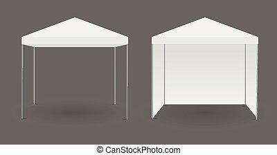 bianco, o, baldacchino, tenda