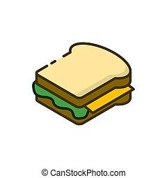 bianco, panino, contorno, icona