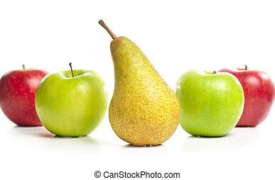 bianco, pera, isolato, mele