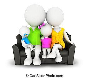 bianco, persone, 3d, famiglia