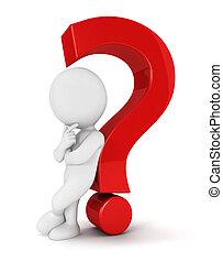 bianco, persone, domanda, 3d, marchio