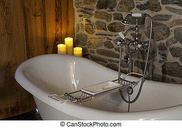 bianco, piede, vasca bagno, stile, classico, artiglio