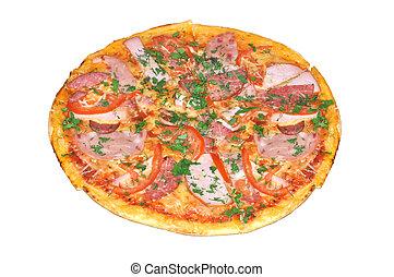 bianco, pizza, saporito, isolato, pepperoni
