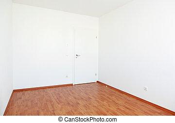 bianco, porta, stanza, vuoto
