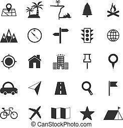 bianco, posizione, fondo, icone