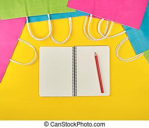bianco, quaderno, aperto, fogli, vuoto