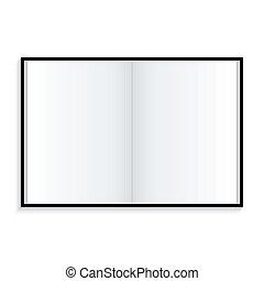 bianco, quaderno, fondo, icona