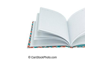 bianco, quaderno, isolato
