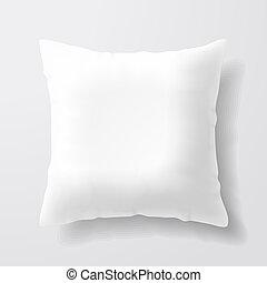 bianco, quadrato, cuscino, vuoto