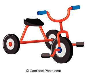 bianco rosso, fondo, triciclo