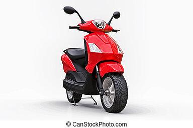 bianco rosso, moderno, ciclomotore, 3d, urbano, illustration., fondo.