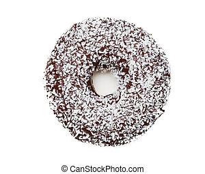 bianco, saporito, isolato, donut, cioccolato