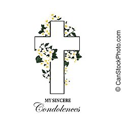 bianco, scheda, fiori, croce, vettore, funerale