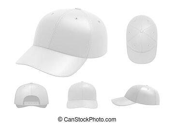 bianco, set, berretto, mockup, collezione