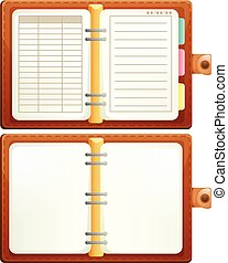bianco, set, fondo, quaderno