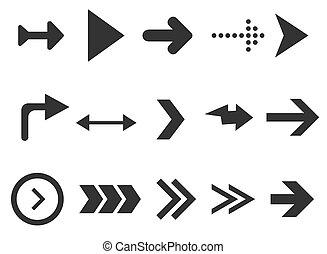 bianco, set, more., segno, interfaccia, collezione, isolato, web, fondo., frecce, disegno