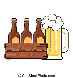bianco, set, scatola, legno, boccale vetro, fondo, birre, birra