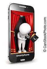 bianco, smartphone, 3d, palcoscenico, persone