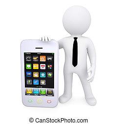 bianco, smartphone, 3d, uomo, prossimo