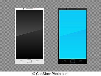 bianco, smartphone, nero