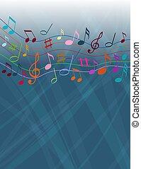 bianco, solide, note, fondo, colore musica