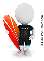 bianco, surfer, 3d, persone