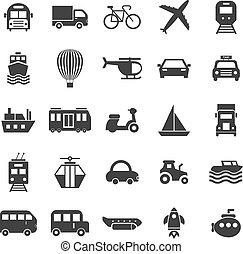 bianco, trasporto, fondo, icone