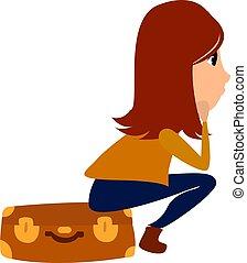 bianco, vettore, illustrazione, fondo., ragazza, valigia