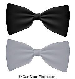 bianco, vettore, nero, isolato, arco-cravatta
