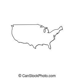 bianco, vettore, stati uniti, mappa fondo, isolato, icona