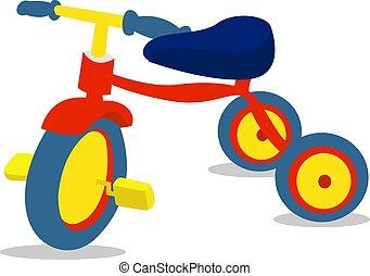 bianco, vettore, triciclo, fondo., illustrazione