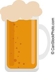 bianco, vettore, vetro birra, illustrazione, fondo.
