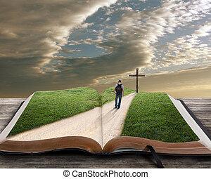 bibbia, aperto, croce, uomo