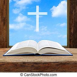bibbia, cristiano, legno, luce, poco profondo, cielo, croce, finestra, dof, aperto, vista
