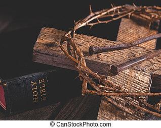 bibbia, santo, croce, spine, corona