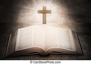 bibbia, santo, legno, croce, mezzo, aperto