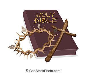 bibbia, santo, legno, spina, corona, croce
